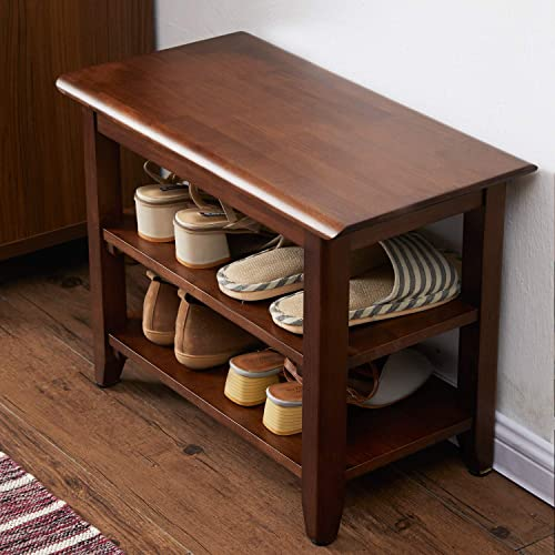 ACRO Storage Bench Wooden Shoe Bench Rustic Solid Wood Entryway Bench Brown,23.6″