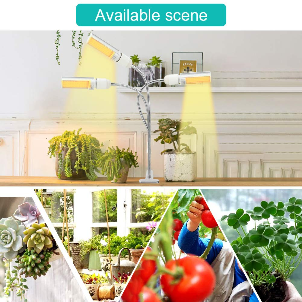 Grow Light Plant Lights for Indoor Plants AUGYMER 132 LED Growing Lamp Bulbs Full Spectrum 75w 3 Dimmable Levels 3//9//12H Timer