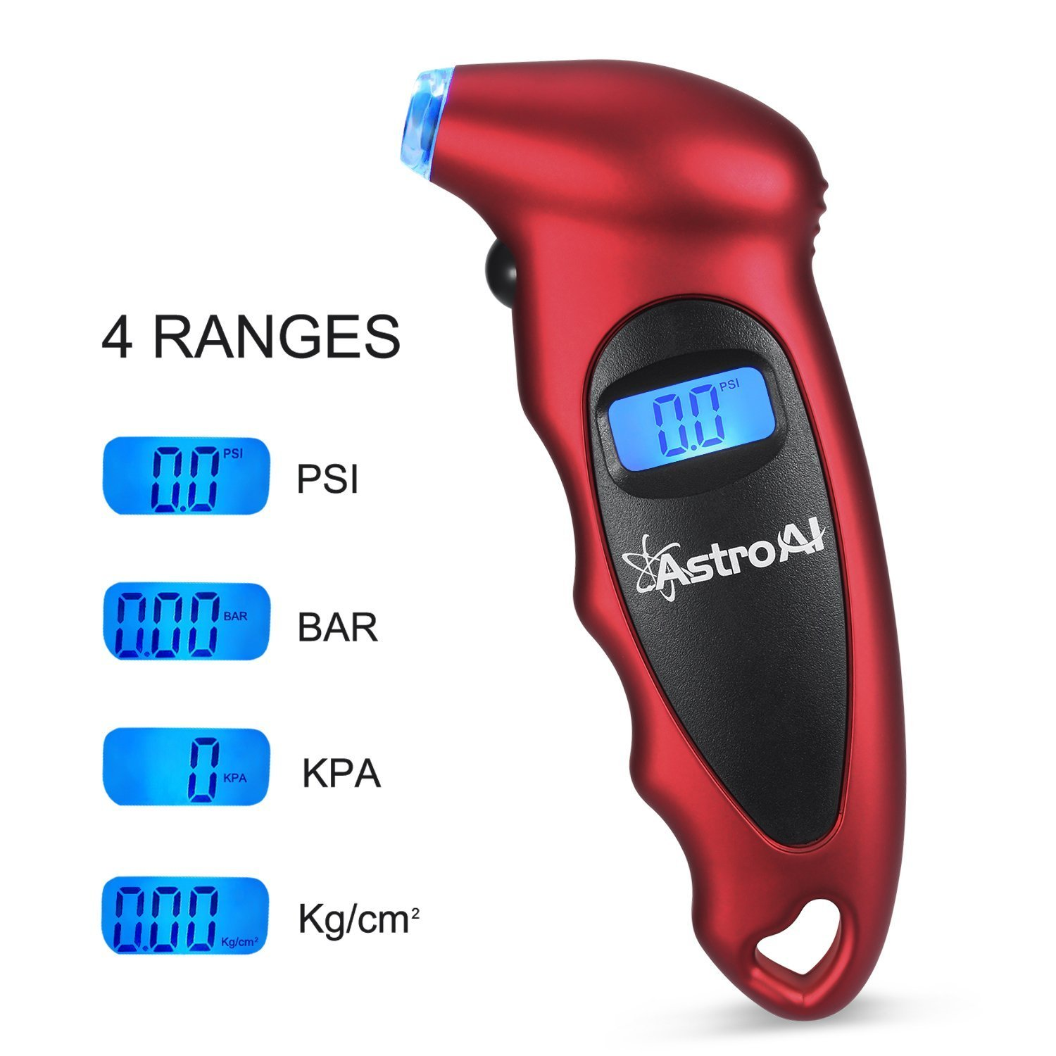 AstroAI Digital Tire Pressure Gauge 150 PSI 4 Settings for Car Truck Bicycle with Backlit LCD and Non-Slip Grip Red