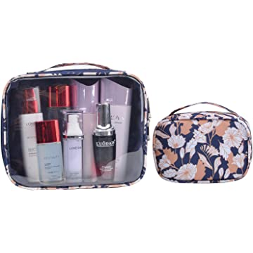 MKPCW 2pcs/pack clear Travel Makeup Bags Organizer Cosmetic Case Travel Luggage Pouch Carry On Portable Toiletry Bags for Women Men