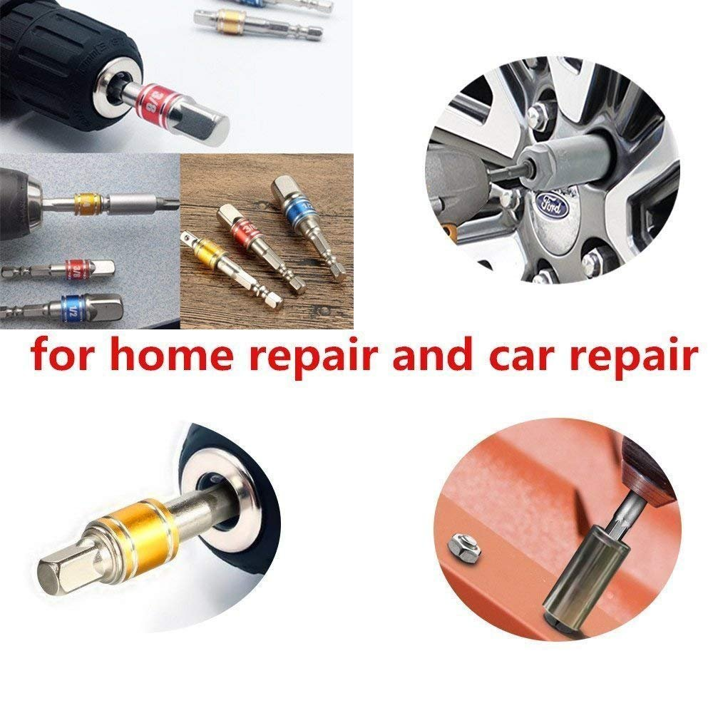 3//8 1//4 and 1//2 Drive NoYI-3PCS Impact Socket Adapter//Extension Set Turns Power Drill Into High Speed Nut Driver