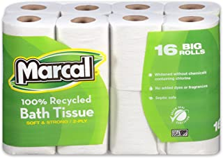 product image for Marcal Toilet Paper, 100% Recycled 2-Ply, White, 168 Sheets Per Roll, 96 Rolls Per Case - Green Seal Certified, Soft & Absorbent Toilet Paper 16466