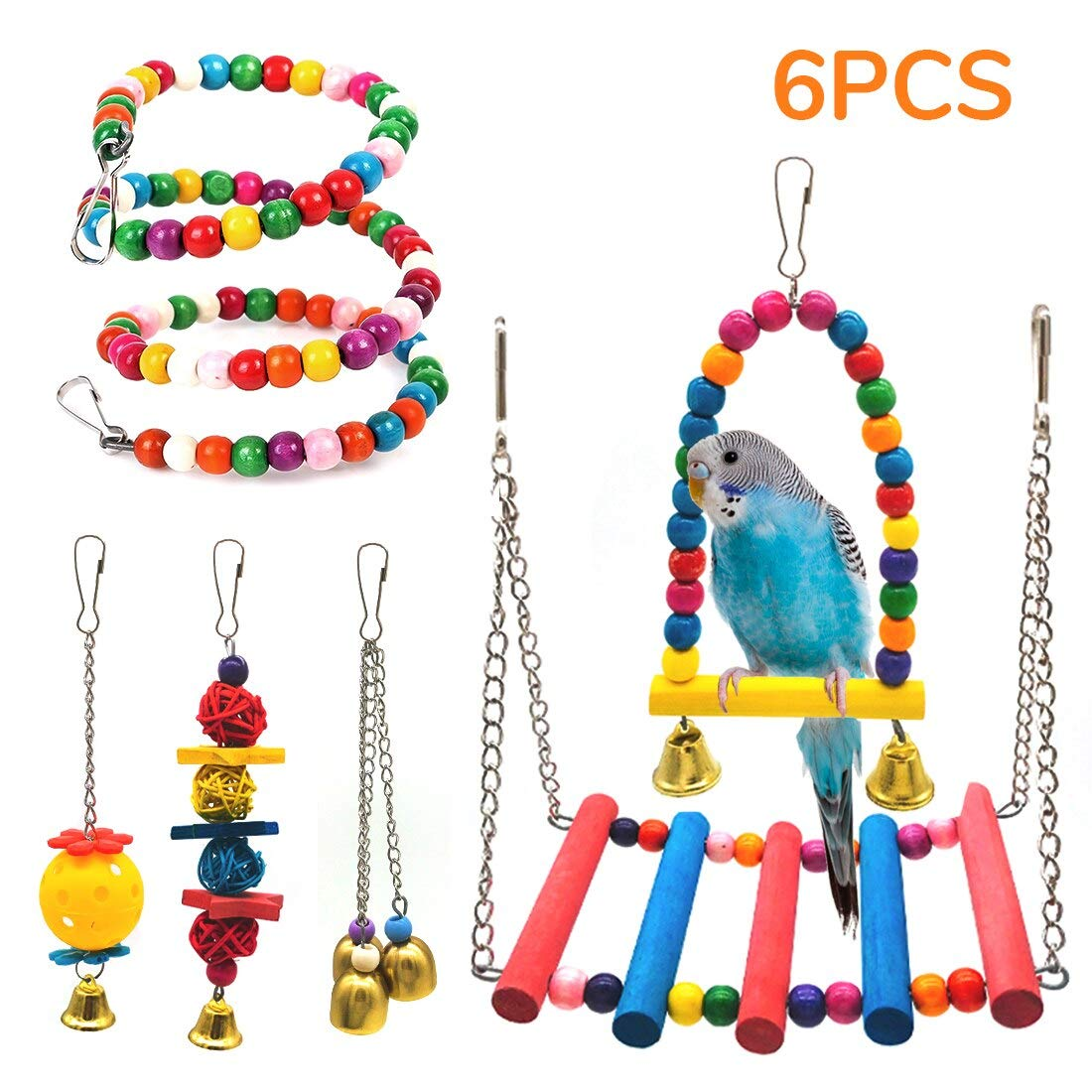 SSRIVER Bird Toys Bird Swing Parrot Bed Ladder Budgie Hammock Macaws Bite Parakeets Bell Lovebirds Rattan Conures Perch…