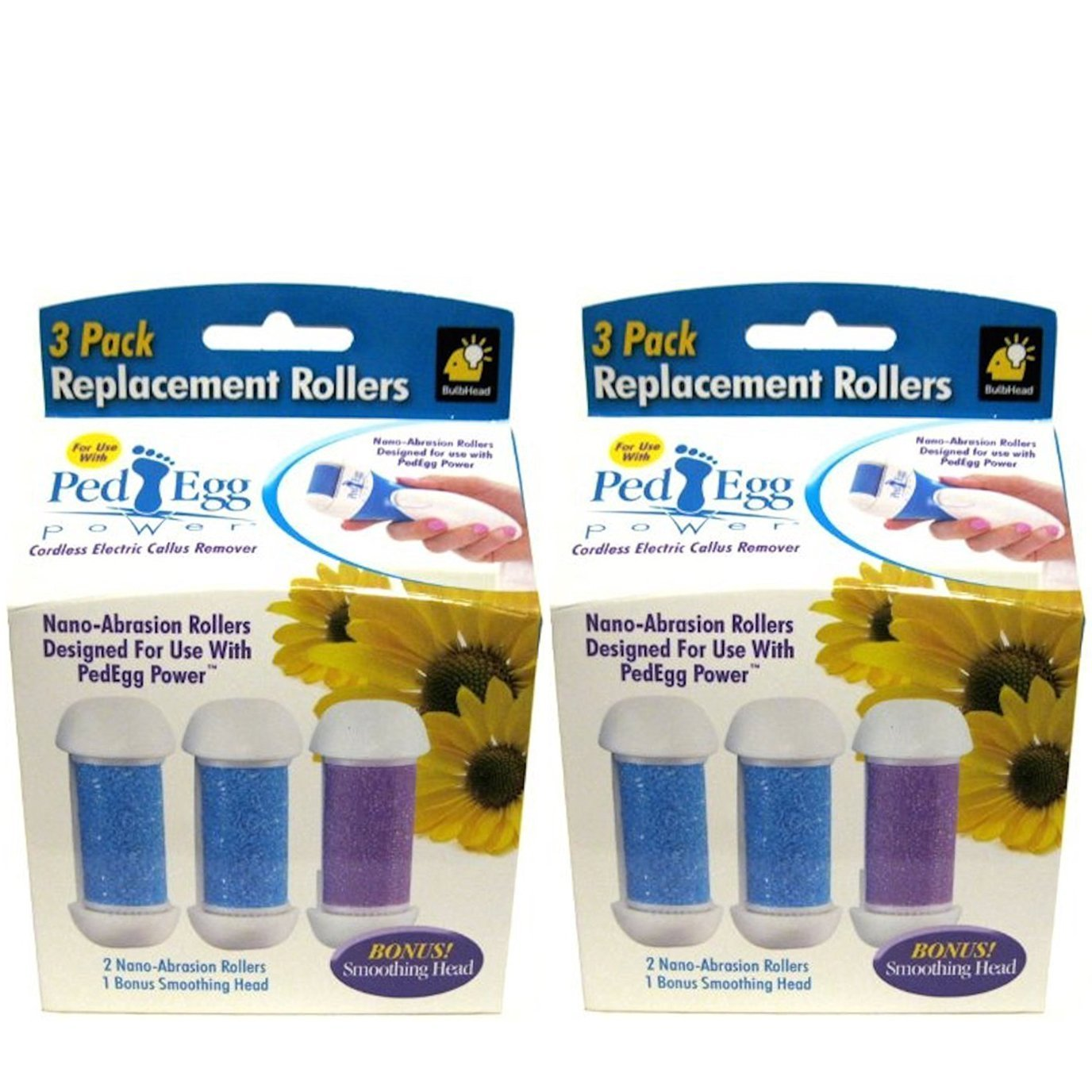 PedEgg Power Replacement Rollers by BulbHead - Retail Packaging - (2 Packs of 3)