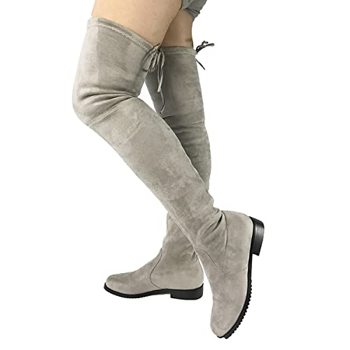 795616f1f7f Image Unavailable. Image not available for. Color  87 shoes Thigh High Flat  Boots ...