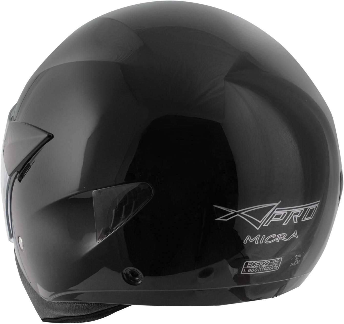 Casque Moto Scooter Ville Jet Visiere Longue Approuv/é ECE 22-05 Argent XL