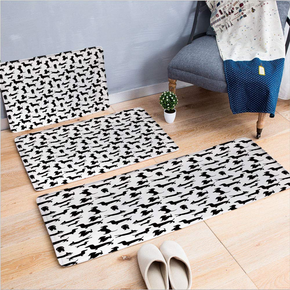 "3 Piece Non-Slip Doormat 3D Print for Door mat Living Room Kitchen Absorbent Kitchen mat,in Numerous Stances Active Life Pet Canine,15.7""x23.6""by23.6""x23.6""by35.4""x63"",Coffee Table Carpet Window Mat"