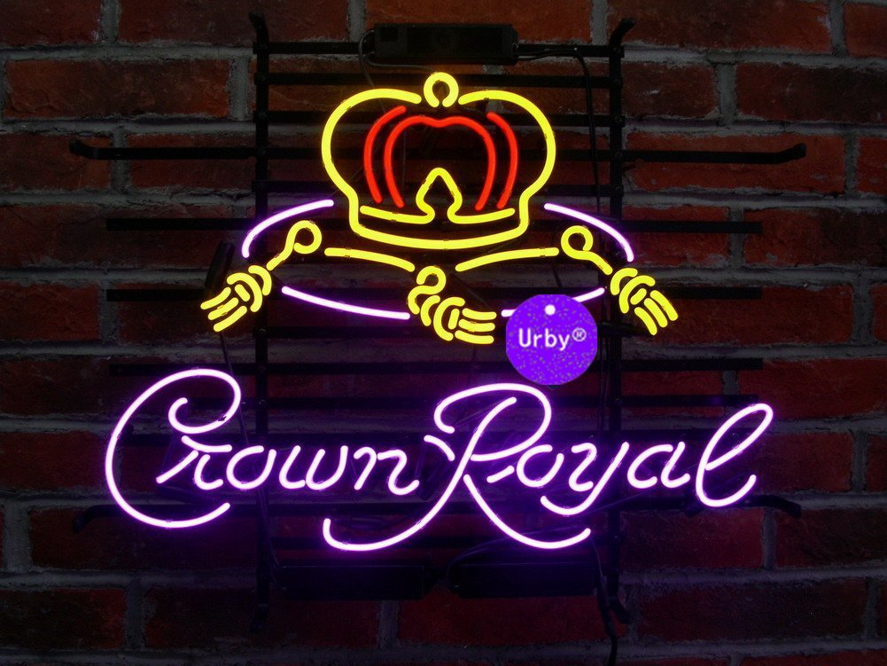 Urby® 24''x20'' Larger Crown Royal Whiskey Beer Bar Neon Sign 3-Year Warranty-Best Choice!