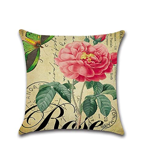 Decorativa almohada Vintage Rose flores primavera impresión ...