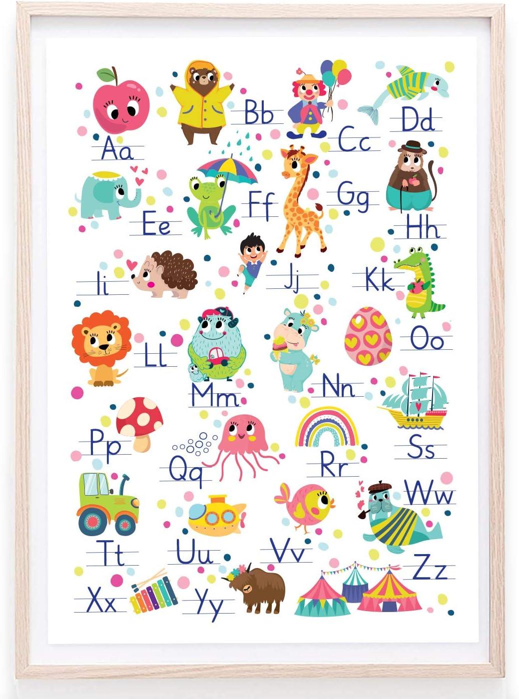 doppelseitiges Alphabet-Poster zum Buchstaben Lernen in Grundschrift mit Anlauttabelle DIN A2 Zaubers/üss ABC Poster f/ür Kinder GS