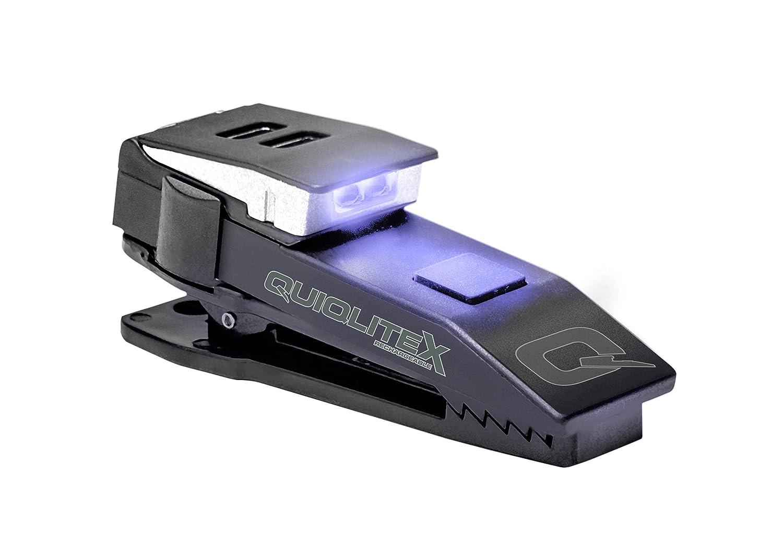 QuiqLiteX Linterna de Bolsillo con Manos Libres ocultable LED, Unisex Adulto, Q-XUVW, U.V. / White LED's, 20 up to 75 Lumens U.V. / White LED' s