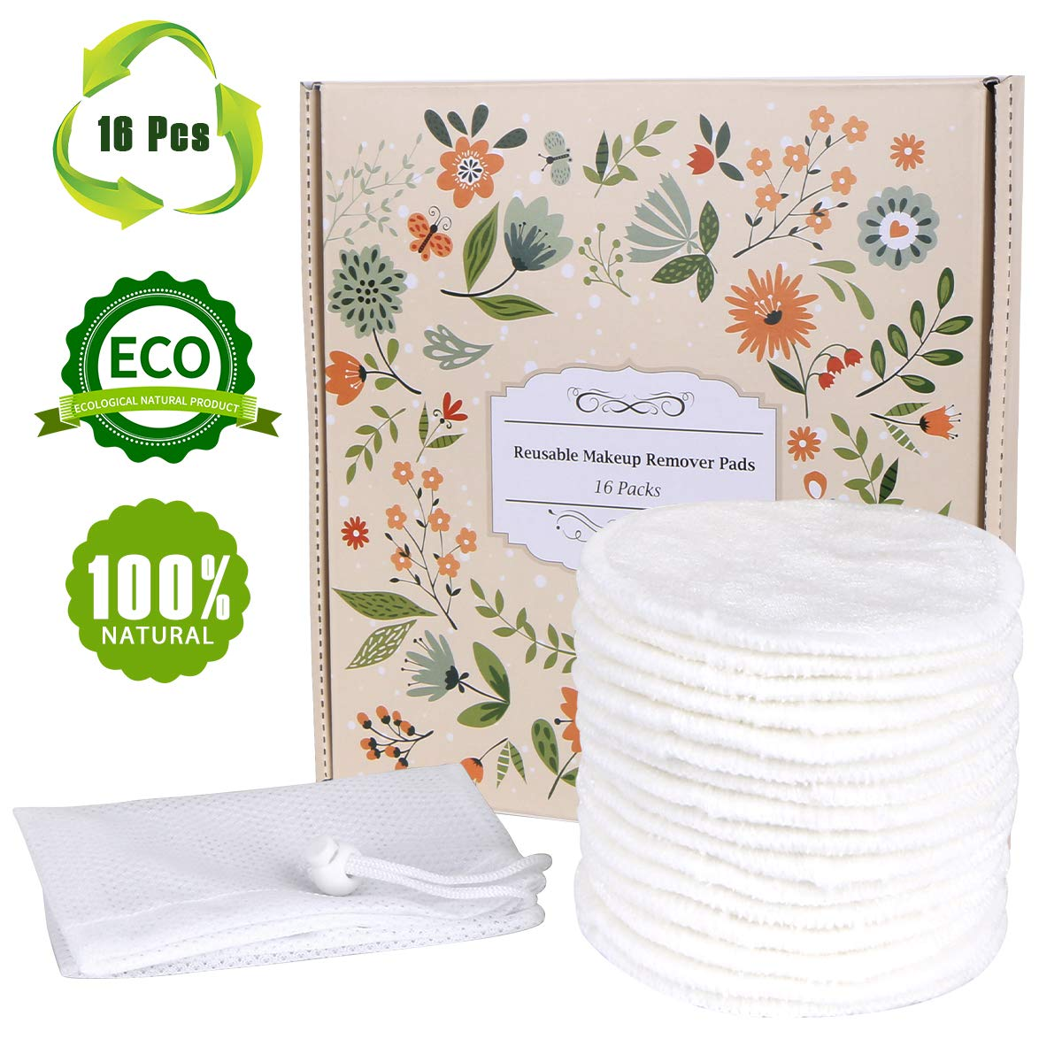 Reusable Makeup Remover Pads 16 Packs, TOPOINT Organic Bamboo Cotton Rounds,Reusable Cotton Pads for Face Wipes with Laundry Bag by TOPOINT