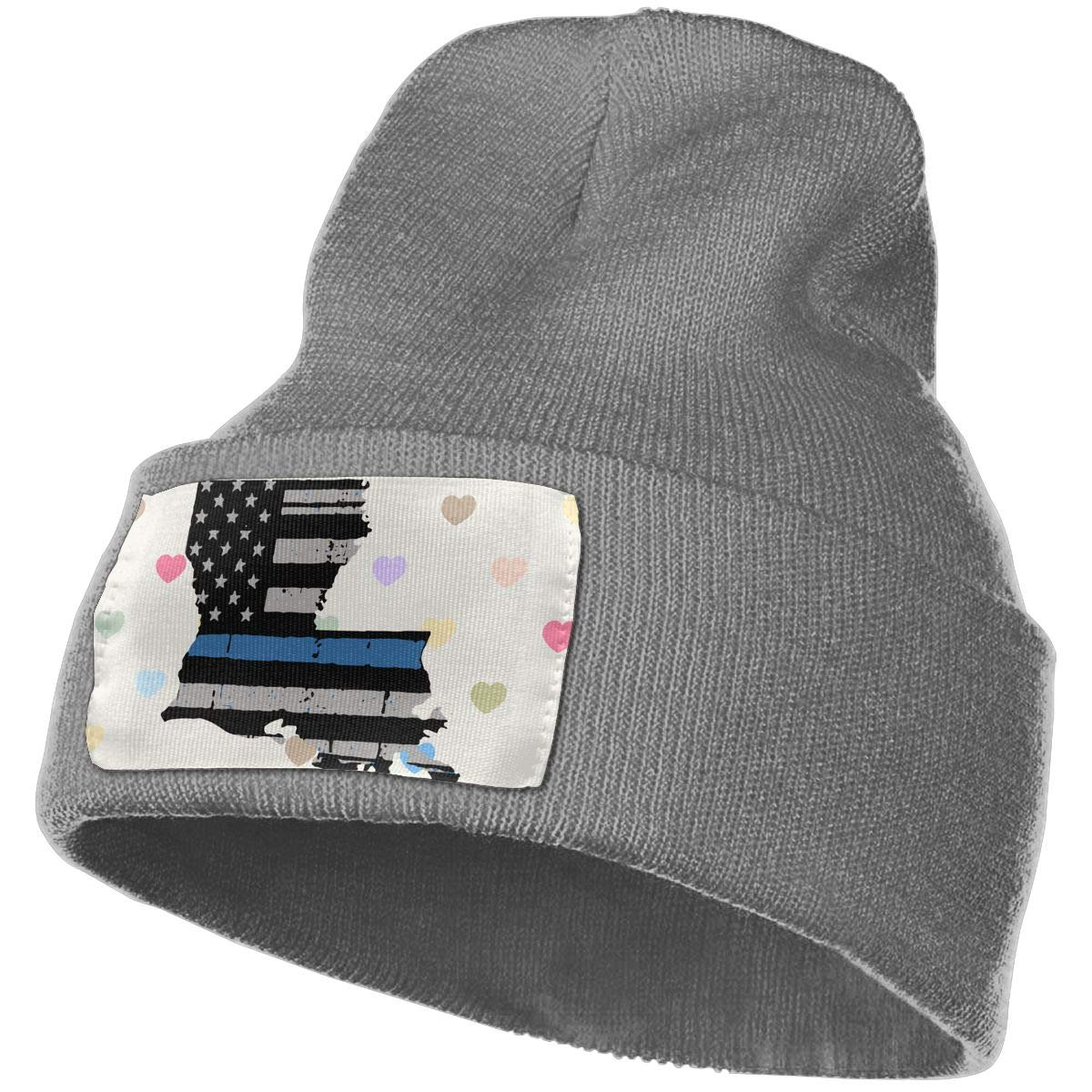 TAOMAP89 Thin Blue Line USA Flag Women and Men Skull Caps Winter Warm Stretchy Knit Beanie Hats