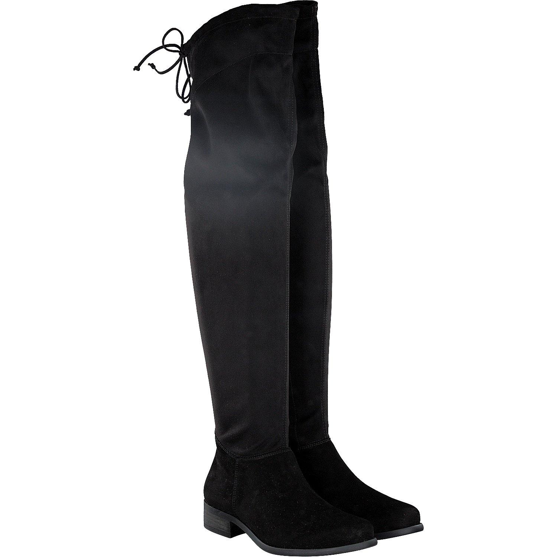 Paul Grün 9172-003 Damen klassischer Stiefel aus Veloursleder Stretchmaterial
