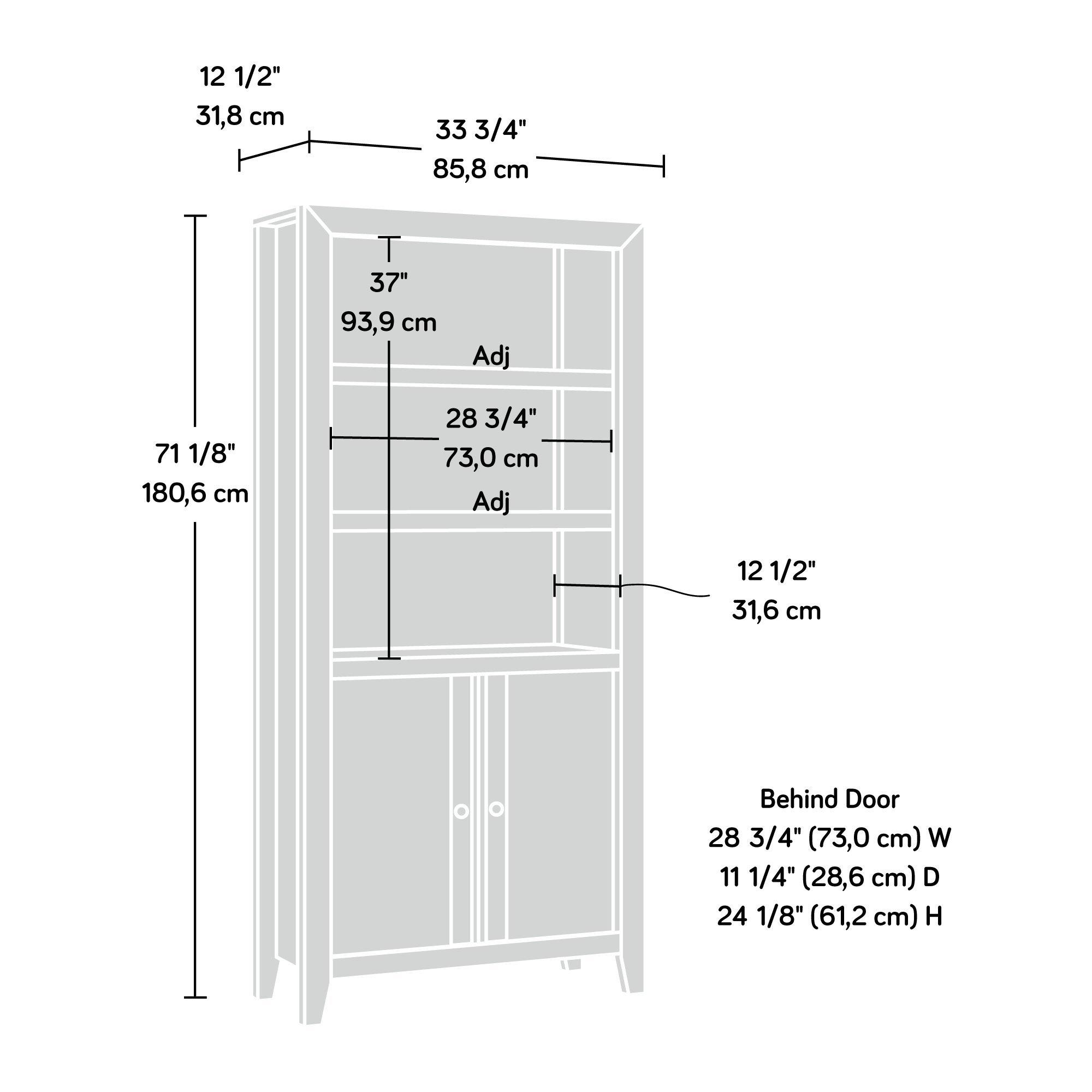 Sauder 420409 Dakota Pass Library with Doors, L: 33.82'' x W: 12.52'' x H: 71.10'', Craftsman Oak Finish by Sauder (Image #4)