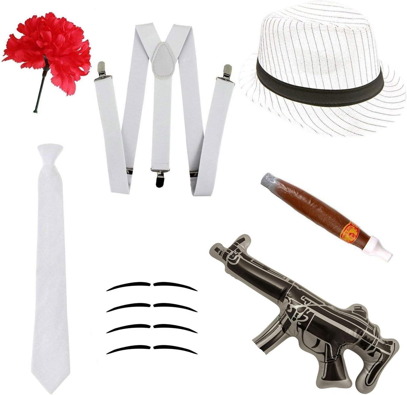 Disfraz gángster Set - Sombrero Trilby, corbata, tirantes, puro ...
