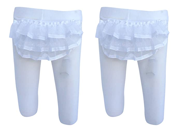 63ee2ded8ea Trimfit Baby Girls Sheer Ribbon Rhumba Tights 2-Pack White 0-6 Months