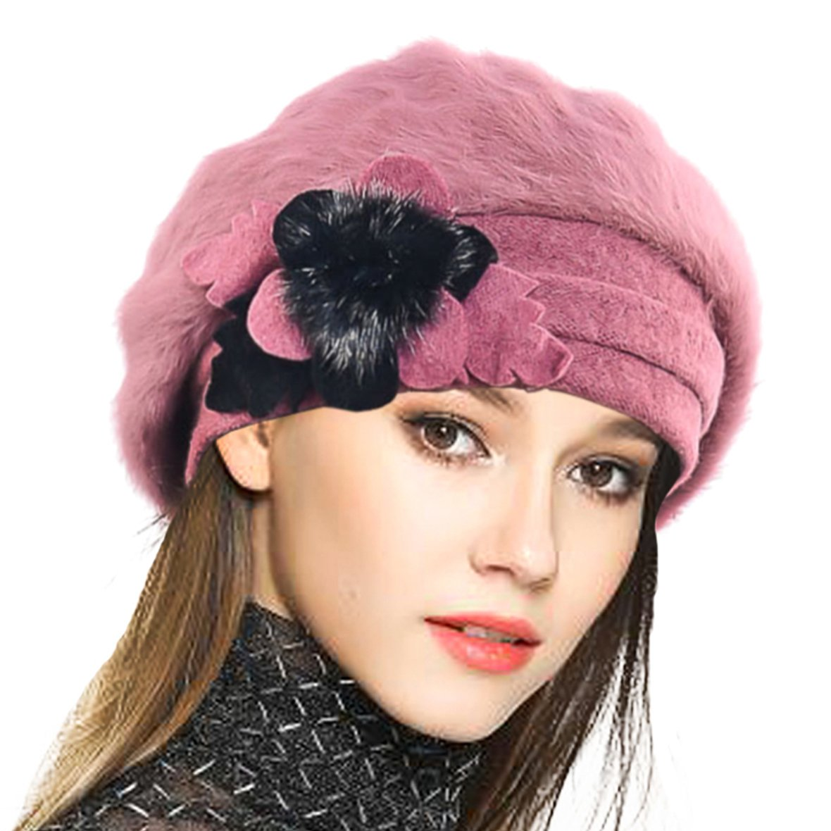 VECRY Lady French Beret 100% Wool Beret Floral Dress Beanie Winter Hat (Angola-IPink)
