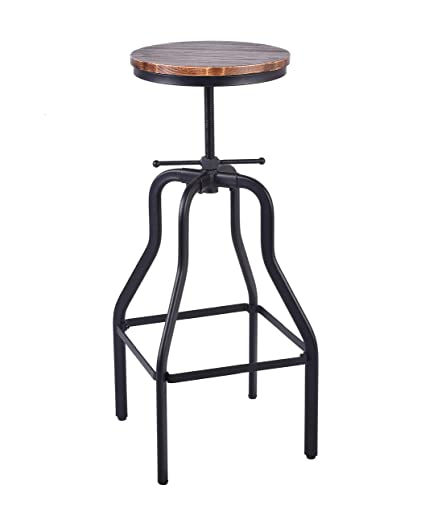 Superb Articial Vintage Bar Stool Round Swivel Wood Seat And Metal Height Adjustable Industrial Look Ibusinesslaw Wood Chair Design Ideas Ibusinesslaworg