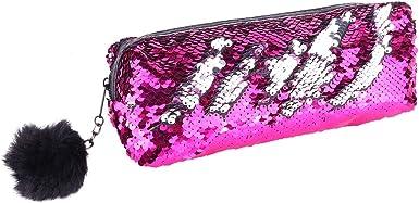 iiniim Bolso Cosmética Bolsa Lentejuelas Reversiblesde Color Doble Sirena Bolso de Cosméticos Estuche de Maquillaje Caja Case Escolar de Lápiz para Niña Estudiante Mujer Rosa&Plateado One_Size: Amazon.es: Ropa y accesorios
