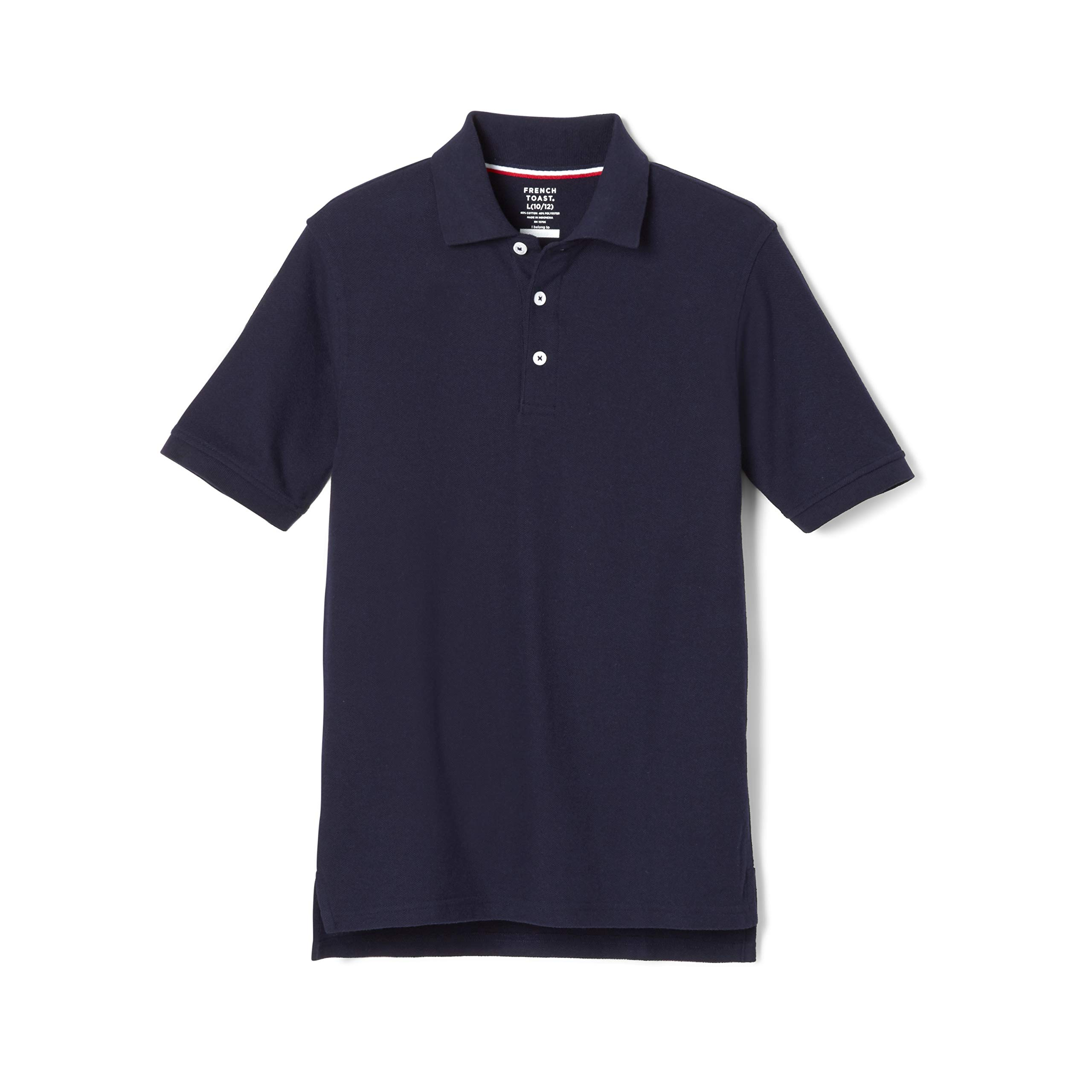 French Toast Boys' Short Sleeve Pique Polo, Navy, X-Large/18/20/ Husky by French Toast