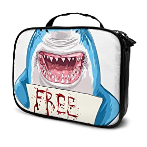 Lucaeat Free Kiss Shark Cosmetic Bag Makeup Organizers Bag Storage With Dividers Brush Holder For Cosmetics Make Up Tools
