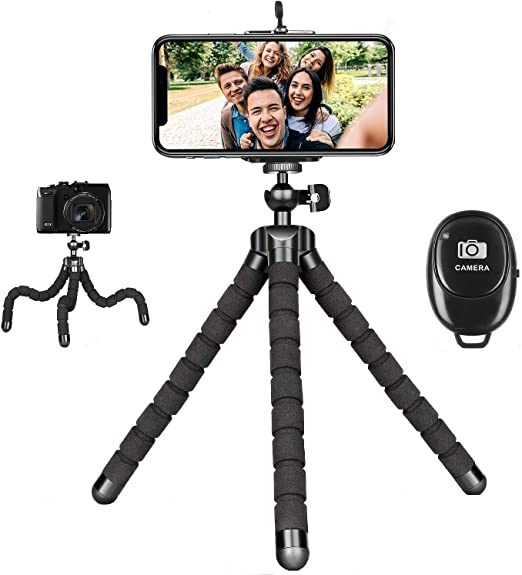 Amazon Com Phone Tripod Portable Cell Phone Tripod Adjustable Tabletop Tripod Stand With Wireless Remote Flexible Tripod Compatible For Iphone 12 11 Pro Xs Max Xr X Se 8 7 6s Plus Samsung