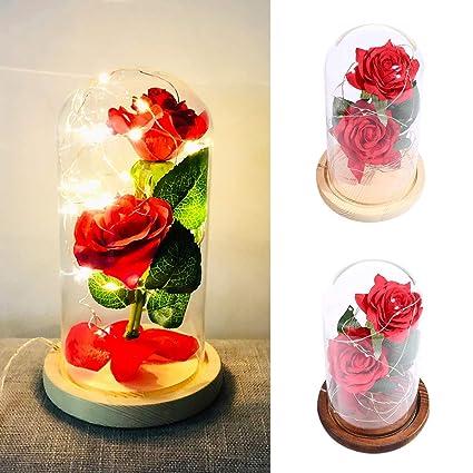 Cargador USB Dos Cúpula de Cristal Rosa roja Lámpara LED ...