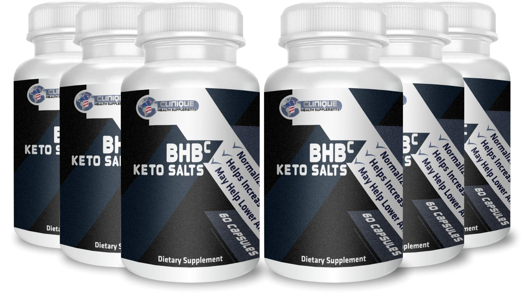 1Clinique's BHB Keto Salts | Value Pack 6 x 60 Capsules | Supports ketosis | Magnesium, Calcium, and Sodium Beta-Hydroxybutyrate | Pure Energy Source | Made in USA