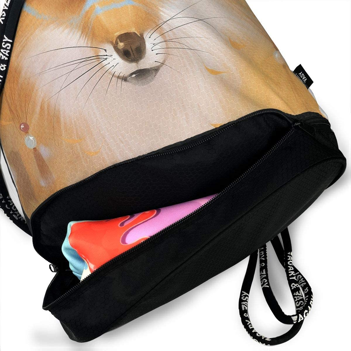 HUOPR5Q Lovely Fox Drawstring Backpack Sport Gym Sack Shoulder Bulk Bag Dance Bag for School Travel