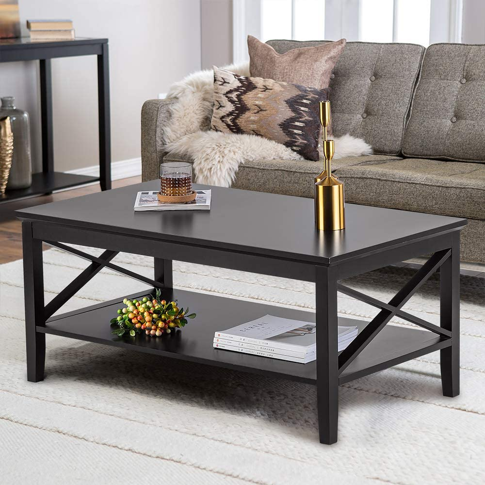 ChooChoo Oxford Coffee Table with Thicker Legs, Black Wood Coffee Table with Storage for Living Room 40 inches