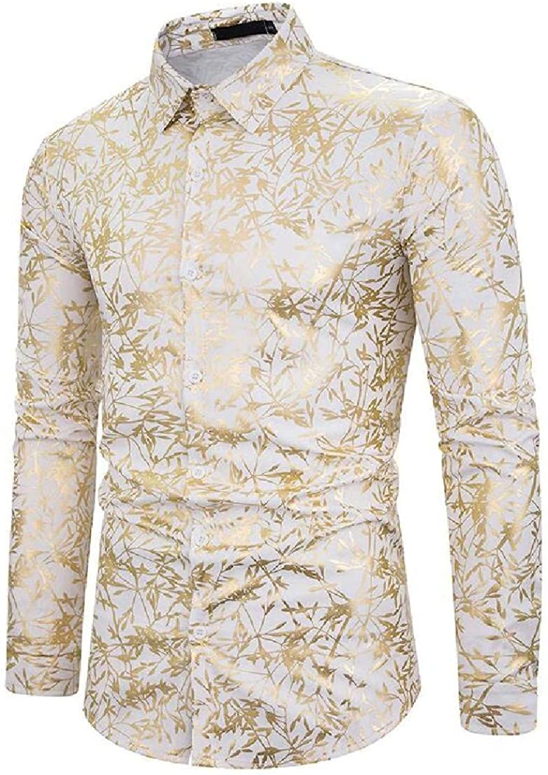 YYear Mens Long Sleeve Print Casual Business Luxury Button Gold Shirts
