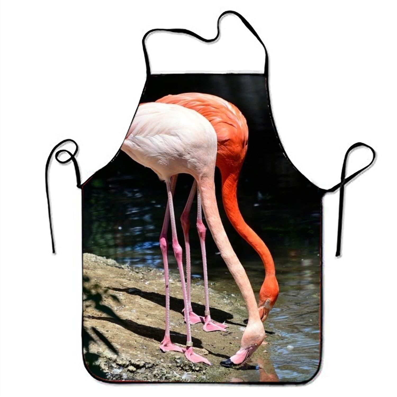 水鳥ピンクflamingo1キッチン料理エプロン女性と男性用調節可能なネックストラップレストランホームキッチンエプロンBib for、料理BBQ   B07FXH183G