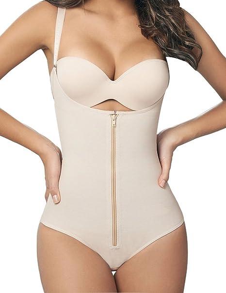 71adf08700 SHAPERX Women Seamless Firm Control Shapewear Zipper Closure Open Bust  Bodysuit Body Shaper Slimmer Shaperwear Beige