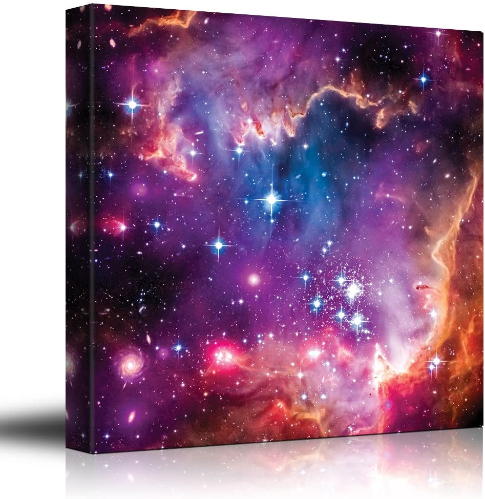 Vibrant Pink and Purple Outerspace with Galaxies and Stars - Canvas Art Home Art - 16x16 inches