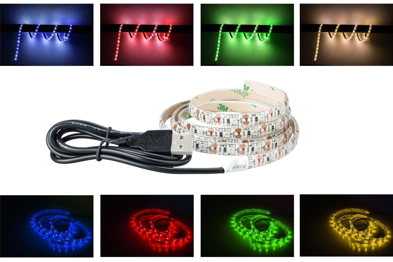 USB LED Strip luce notturna, Tdrshine 1m/1m flessibile corda luci per camera da letto, armadio, TV, monitor retroilluminazione singolo colore sotto il letto, dark Corner Accent Lighting... Blue
