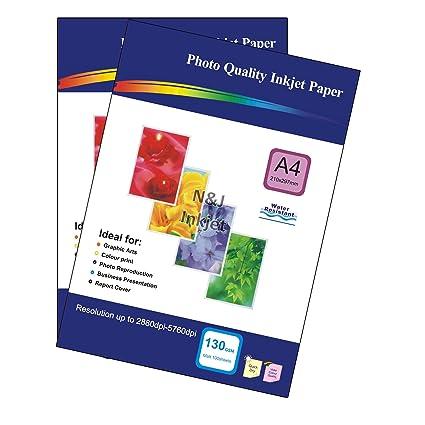 200 Hojas de Papel de 130 gsm A4 Papel fotográfico para impresoras ...
