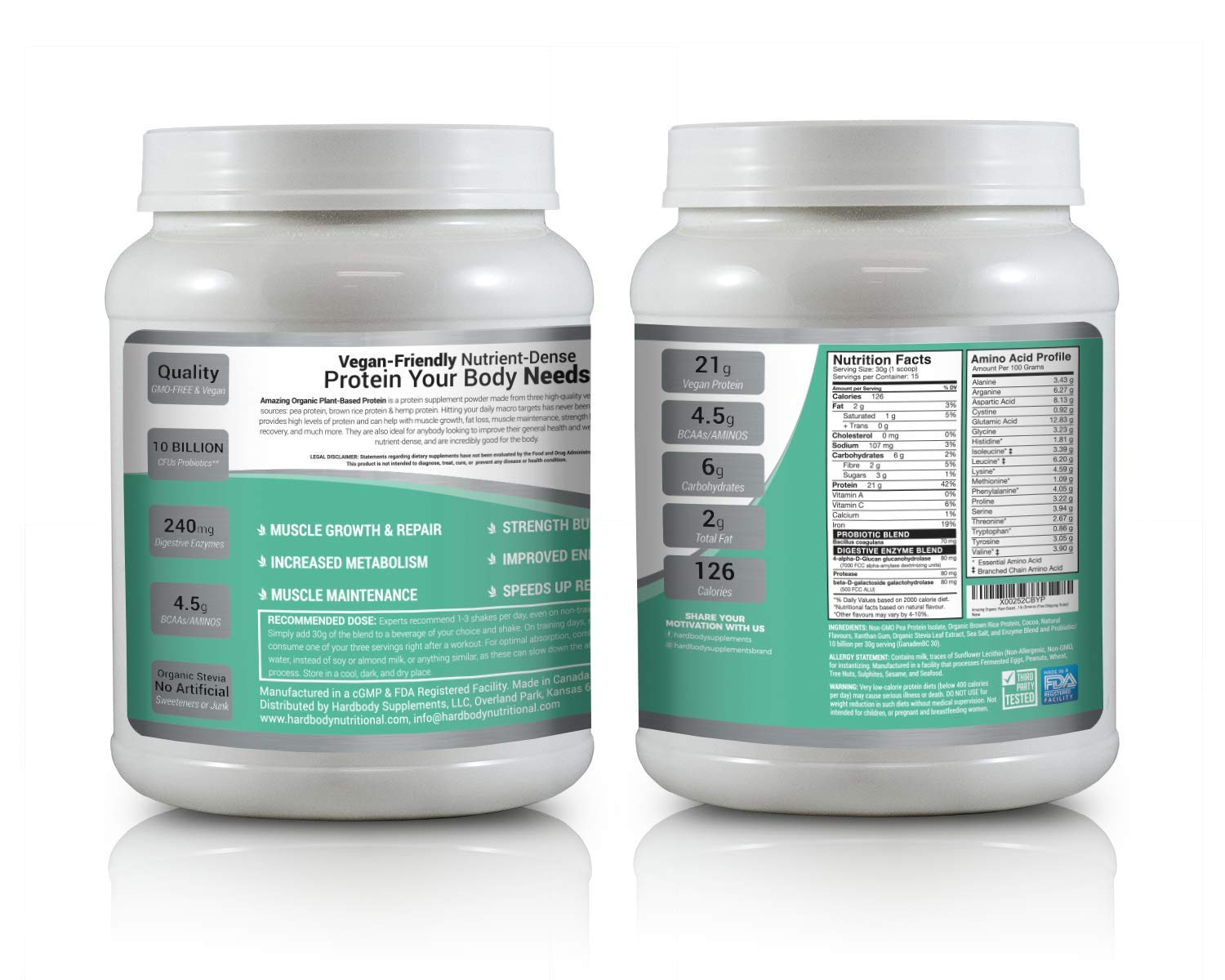 Amazing Organic Plant Based Vegan Protein Powder Made with Probiotic's, Digestive Enzymes & Organic Stevia. Vegetarian Protein Shake for Healthy Gut Bacteria