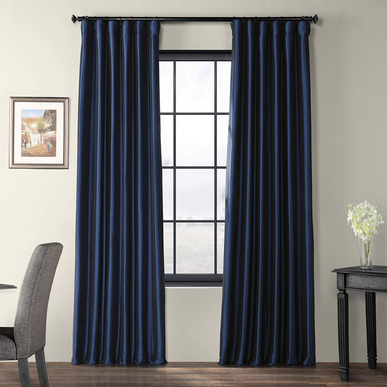 Navy bluee 50 x 108 PTCH-JTSP429-108 Faux Silk Taffeta Curtain, Winter Ice, 50  x 108