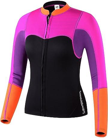 3226ce96077 Lemorecn Womens 2mm Neoprene Long Sleeve Jacket Front Zipper Wetsuit Top