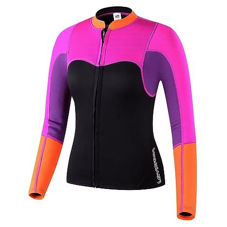 Lemorecn Womens 2mm Neoprene Long Sleeve Jacket Front Zipper Wetsuit Top  (2094P4) 047577f1a