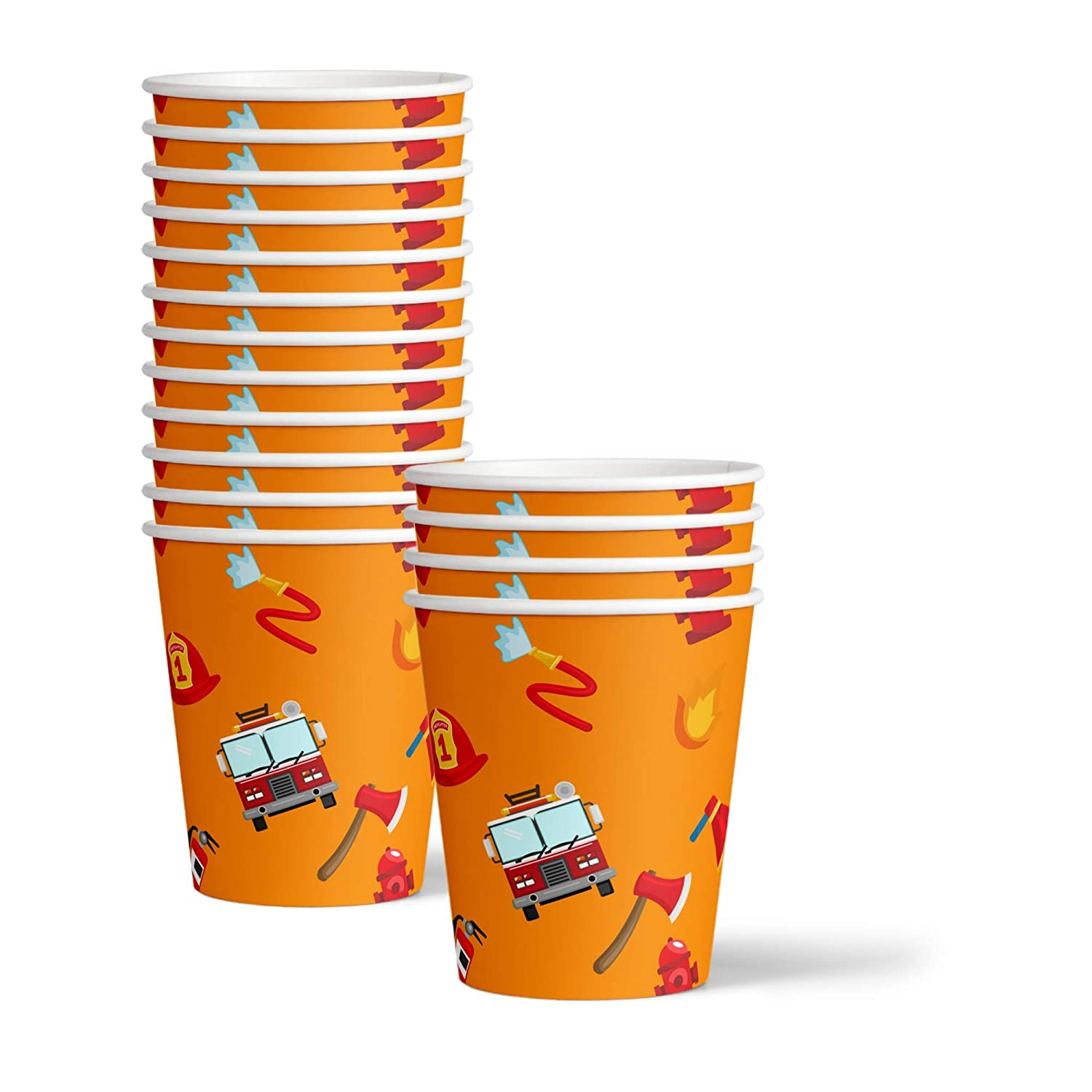 Fire Fighter Truck Birthday Party Supplies Set Plates Napkins Cups Tableware Kit for 16 Birthday Galore