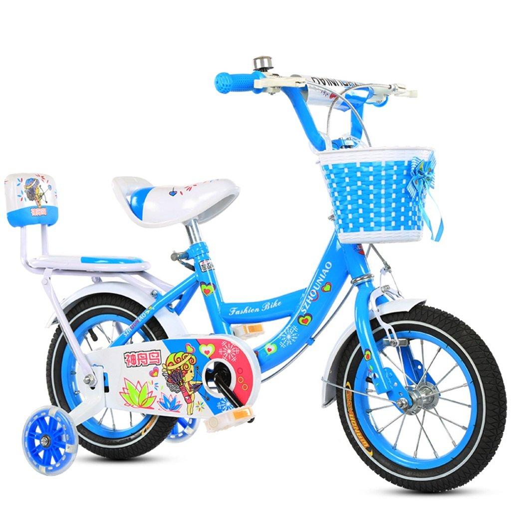 子供の自転車12/18インチメンズと女性の自転車2-4/6-11歳のベビーバイクハイカーボンスチールフレーム、ピンク/ブルー (Color : 18 inch blue) B07D1M6ZQF