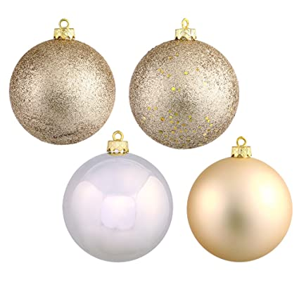 amazon com vickerman 4 finish assorted plastic ornament setvickerman 4 finish assorted plastic ornament set u0026 seamless shatterproof christmas ball ornaments with drilled