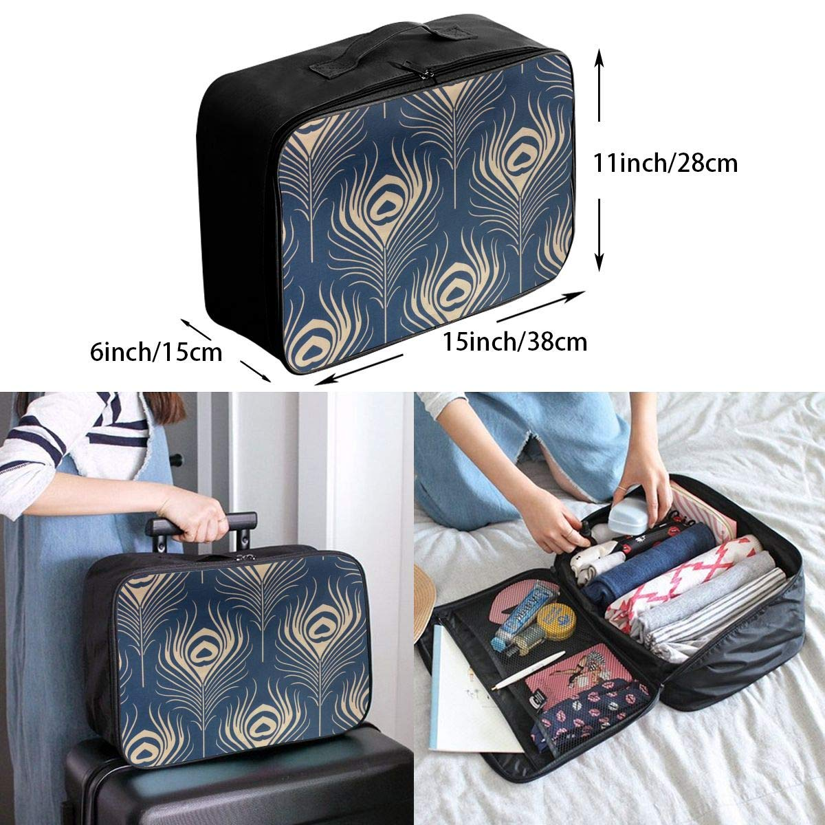 Travel Luggage Duffle Bag Lightweight Portable Handbag Feather Pattern Large Capacity Waterproof Foldable Storage Tote