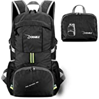 Hiking Backpack Lightweight Packable Travel Daypack 35L Foldable Camping (Black)
