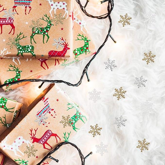 600 St/ück Weihnachtskonfetti Glitzer Schneeflocken Tischkonfetti Silber Gold Schneeflocke Pailletten f/ür Weihnachten Urlaub Party Dekorationen