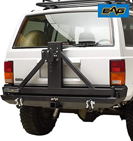 Smittybilt 76851 XRC Rear Bumper and Tire Carrier for 1984-2001 Jeep Cherokee XJ,Black