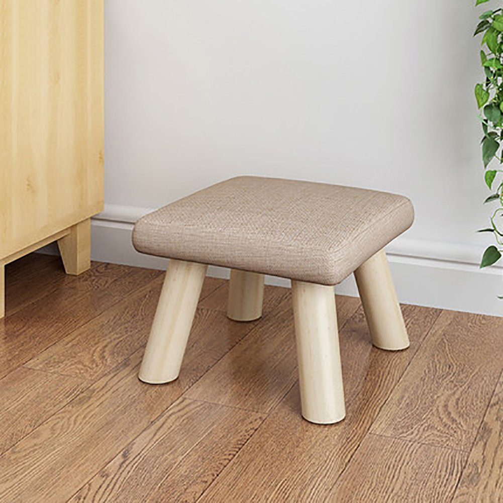 D&L Solid Wood Square Footstool Ottoman Pouffe Cute Stool For Kids Thicken Cushion 4 Legs Removable Linen Cover-F L26xW26xH19cm