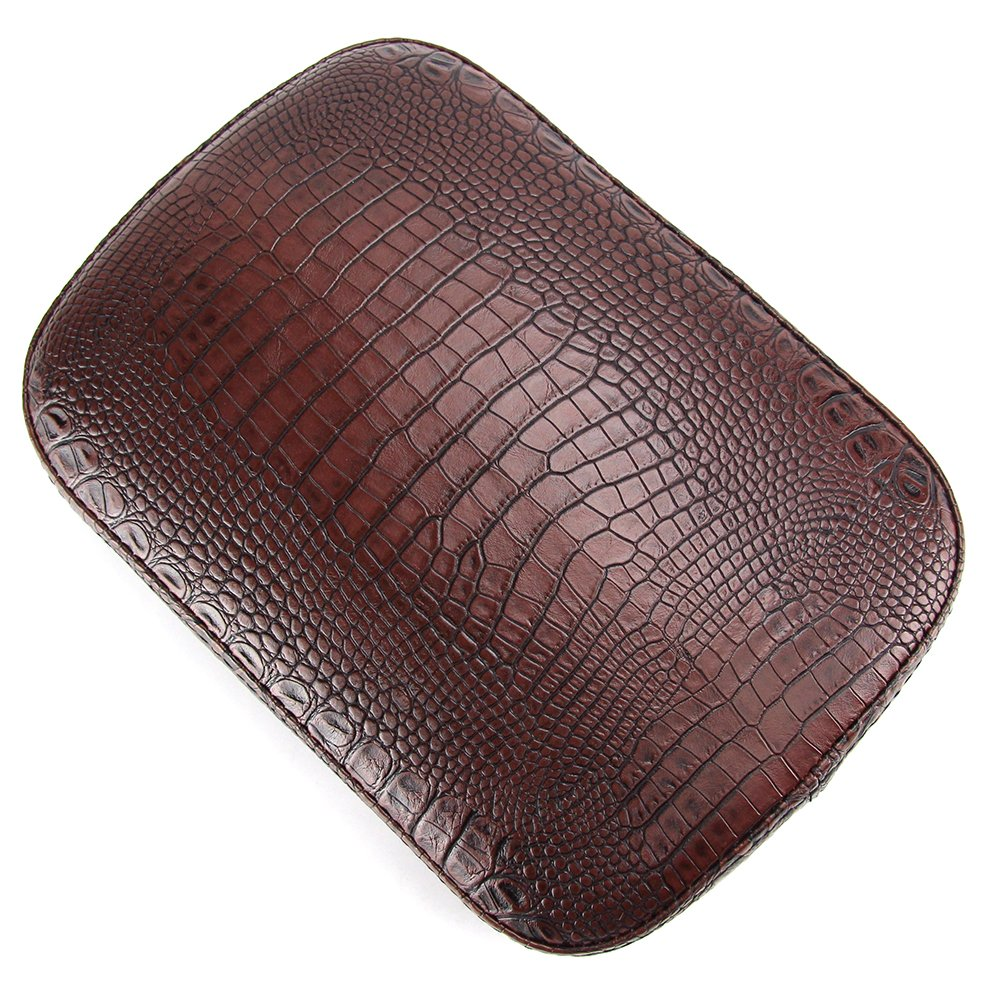 Oumurs Alligator Synthetic Leather Suction Cup Passenger Pillion Pad Seat Rectangle Cushion Pad for Harley Sporster XL 883 1200 Chopper Bobber Dyna Touring (8 Suction Cup Brown)